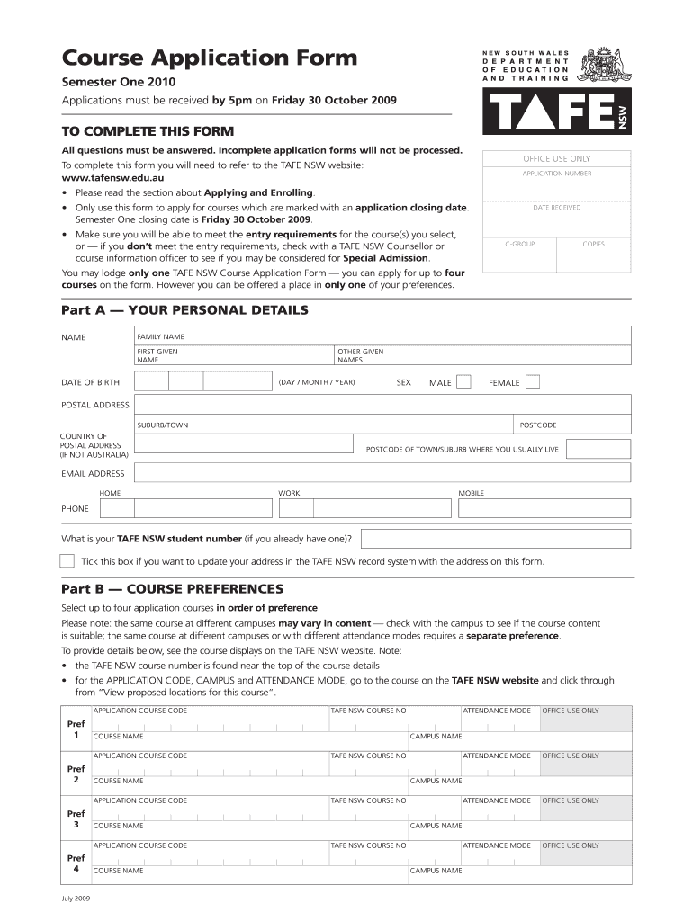 tafe application for replacment form 2017