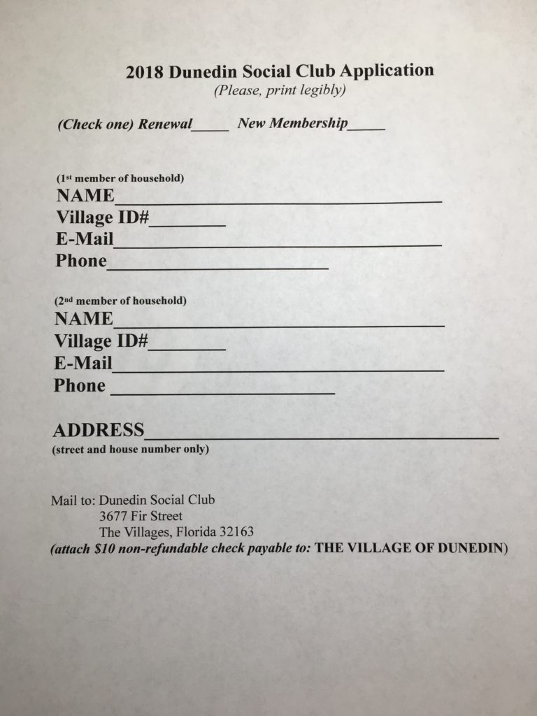 social club membership application form