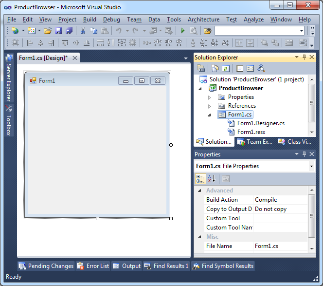 windows form application in c with database projects