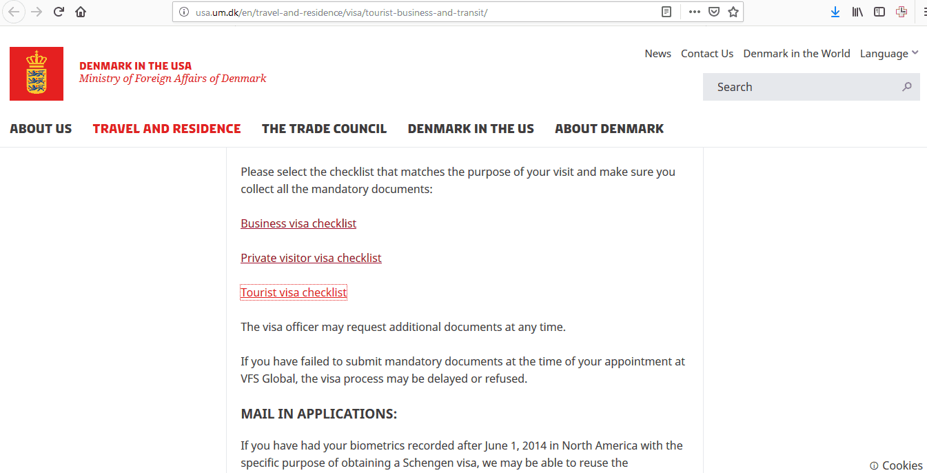 application for a visa short stay