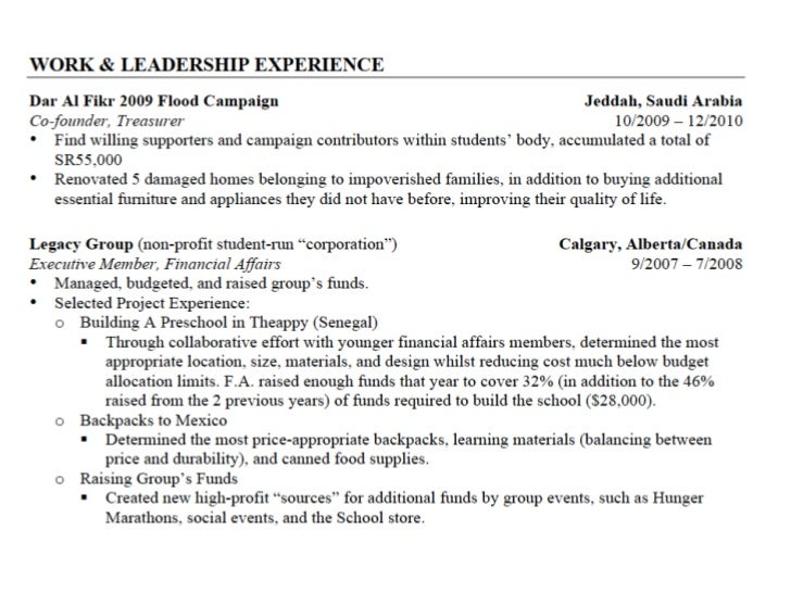 interests to put on resume for it application