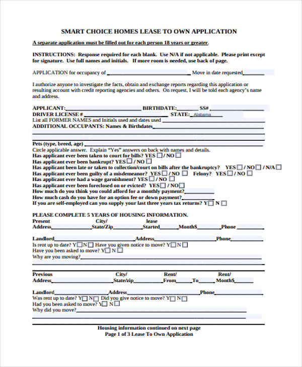 credit references on a lease application