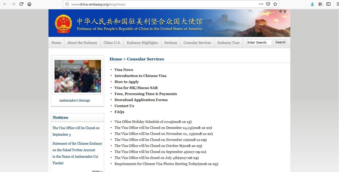 application form chinese tourist visa