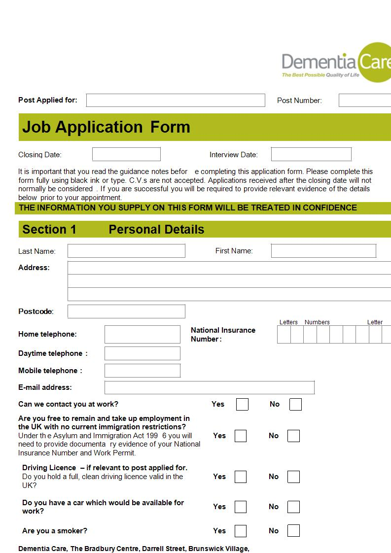 example of application form answers