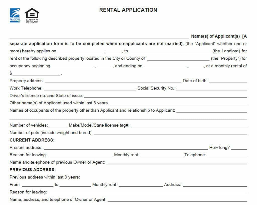 mortgage to rent application form