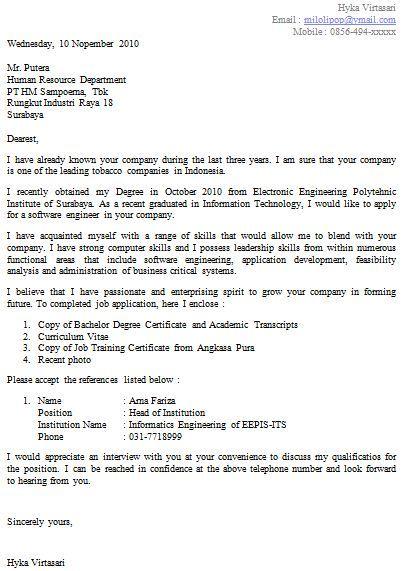 contoh application letter bahasa inggris yang baik dan benar