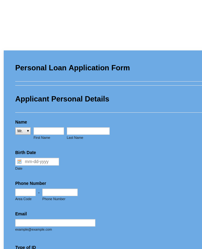 on a personal loan application or in a personal