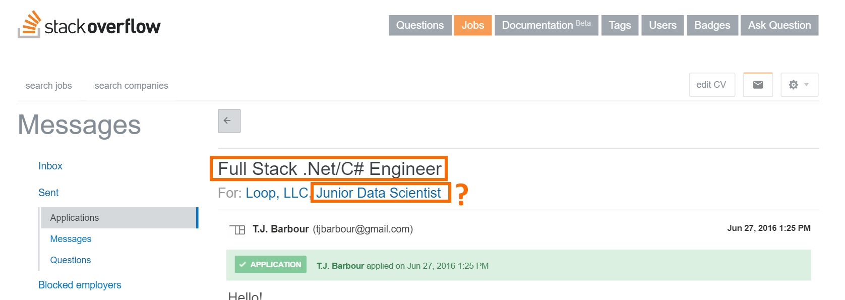 what does it mean junior in job applications